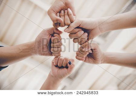 Business Partnership Giving Fist Bump To Start Up New Project. Business And Teamwork Of Partnership