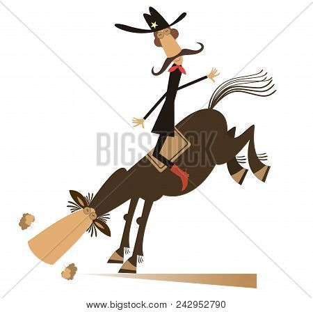 Man Or Cowboy Rides On Horse Isolated Illustration. Cartoon Mustache Cowboy On Rodeo Isolated On Whi