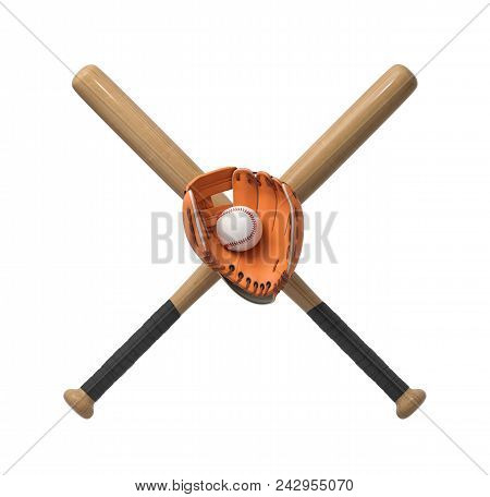3d Rendering Of Two Wooden Baseball Bats With A Wrapped Handle, A Glove And A Ball Itself On A White