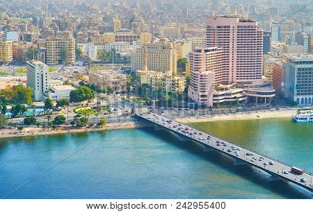 Aerial View On Qasr El Nil Bridge Over The Nile River With Midan Tahrir Square On The Background, Ca