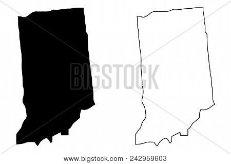 Indiana Map Vector Illustration, Scribble Sketch Indiana Map