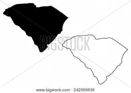 South Carolina Map Vector Illustration, Scribble Sketch South Carolina Map