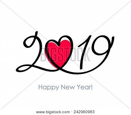 2019 Happy New Year Background With Heart. Christmas Winter Holidays Design. Seasonal Greeting Card,