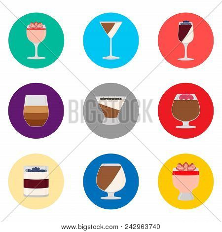 Vector Icon Logo For Set Symbols Sweet Jelly Panna Cotta. Panna Cotta Pattern Consisting Of Flat Des