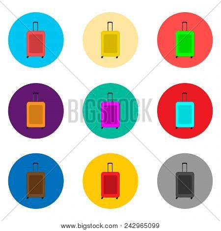 Vector Icon Illustration Logo For Set Symbols Suitcase With Luggage For Travel. Suitcase Pattern Con