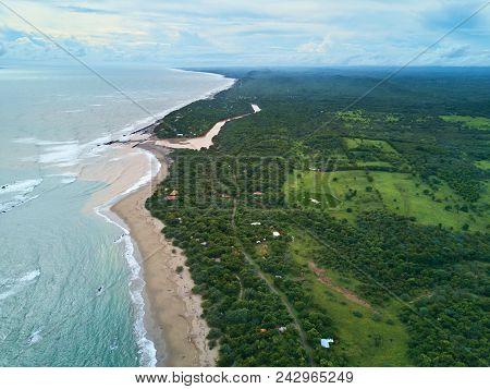 Pacific Coast In Nicaragua Aerial View. Ocean Coastline Above Drone View