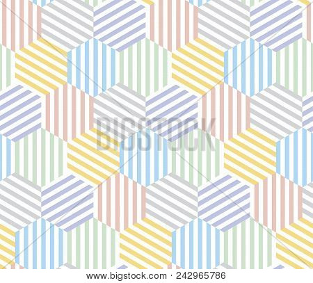 Pale Color Hexagon Pattern Seamless Pattern For Summer Projects. Light Pastel Abstract Geometric Rep