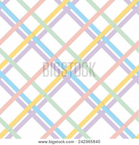 Pale Color Checkered Pattern Seamless Pattern For Summer Projects. Light Pastel Abstract Plaid Repea