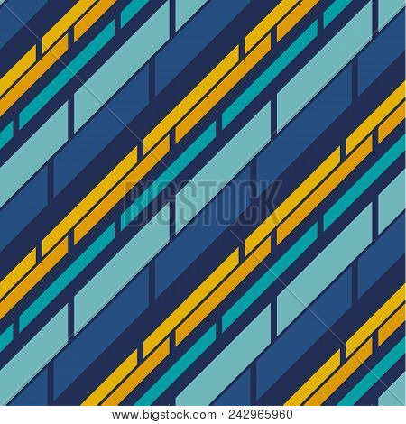 Retro Style Stripe Pattern Seamless Pattern For Summer Projects. Blue Ans Yellow Abstract Line Repea