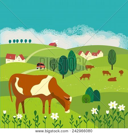 Nature Outdoor Valley Landscape. Colorful Cartoon. Farming Herd Of Brown Cows On Meadow. Rural Commu