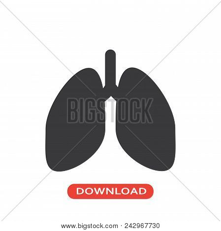 Lungs Vector Icon Flat Style Illustration For Web, Mobile, Logo, Application And Graphic Design. Lun