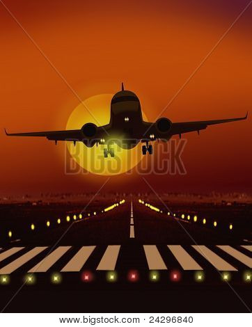 airplane taking off from runway