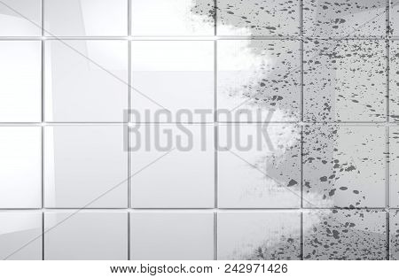 Background Cleaning Concept And Housework. Clean Tile Wall Bathroom Background.3d Illustration