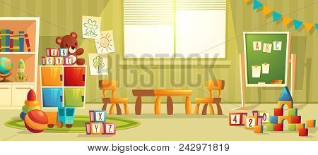 Vector Cartoon Illustration Of Empty Kindergarten Room With Furniture And Toys For Young Children. N