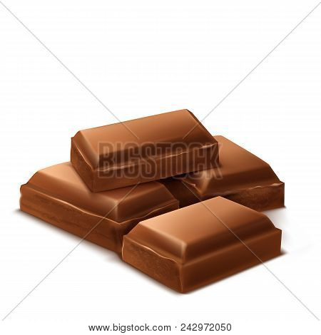 Vector 3d Realistic Chocolate Pieces. Brown Delicious Bars For Packaging Mock Up, Package Template,