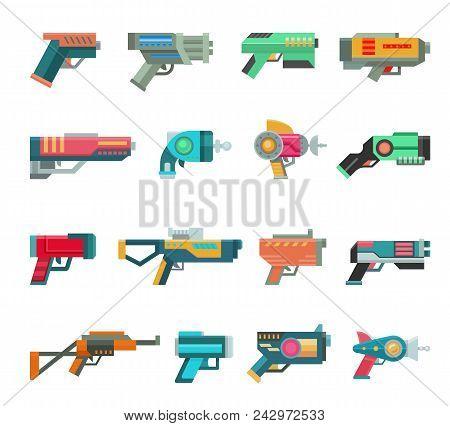 Cartoon Gun Vector Toy Blaster For Kids Game With Futuristic Handgun And Children Raygun Of Aliens I