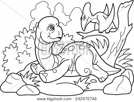 Cartoon Cute Prehistoric Brachiosaurus, Funny Illustration Coloring Book