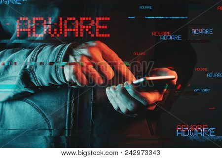 Mobile Phone Adware Concept, Low Key Red And Blue Lit Image And Digital Glitch Effect