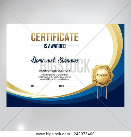 Gift Certificate Design, Honorary Diploma. Creative Blue Background