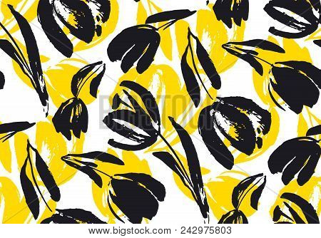 Hand Drawn Tulip Seamless Pattern For Background, Fabric, Wrapping Paper. Stock Template Design. Nat