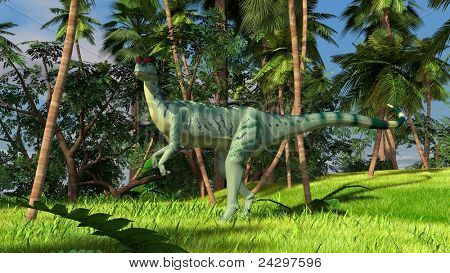 dilophosaurus in jungle