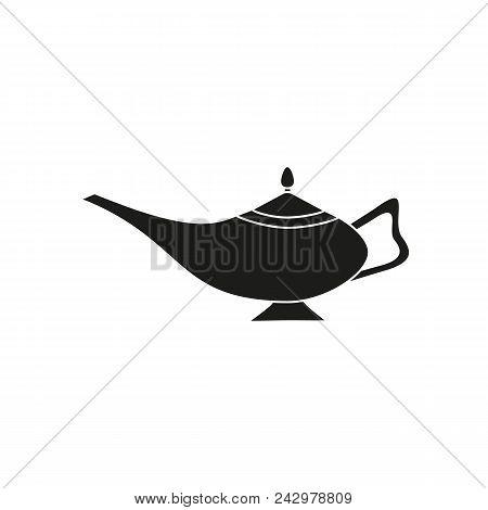 Magic Lamp Black Icon Aladin On The White Background