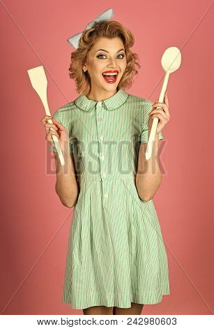 Woman Face Beauty. Retro Woman Cooking, Gender Inequality. Everyday Life, Housework. Housekeeper Wit