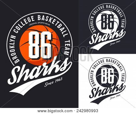 Design For New York, Brooklyn Basketball Team Logo Or Banner With Orange Ball And Text. Set Of Isola