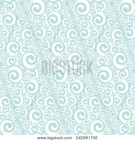 Abstract Art Nouveau Lace Seamless Pattern. White And Blue Color Abstract Wave Repeatable Motif For