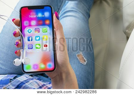 Sankt-petersburg, Russia, May 30, 2018: Apple Iphone X In Woman Hands With Icons Of Social Media Fac