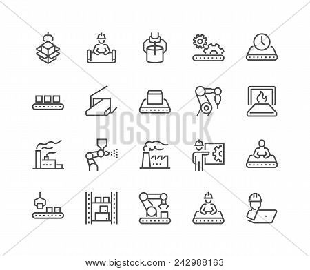 Simple Set Of Mass Production Related Vector Line Icons. Contains Such Icons As Industrial Oven, Rob