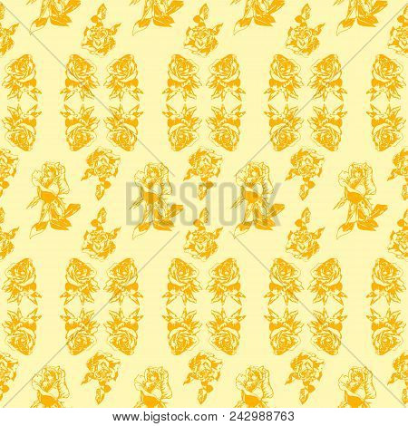 Yellow Roses On A Limon Background. Vector Graphics. Pattern