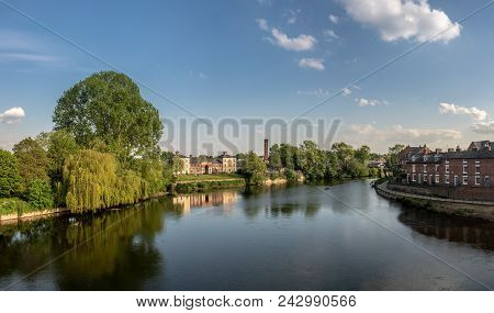 Panorama Of River Severn From English Bridge In Shrewsbury Shropshire With Retirement Apartments In