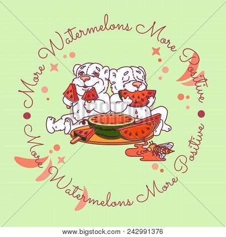 Two Cute Bears Eats A Slice Of Watermelon. Vector Illustration On Light  Background. Watermelon Day
