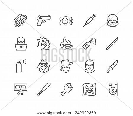 Simple Set Of Crime Related Vector Line Icons. Contains Such Icons As Robbery, Terrorism, Piracy, Ha