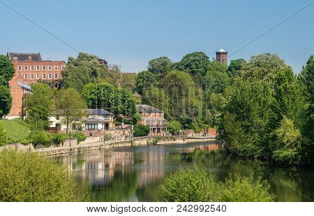Skyline Of Town Of Shrewsbury In Shropshire Above The River Severn