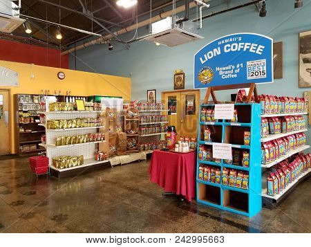 Honolulu - September 19, 2016: Inside Lion Coffee.  This Airy Coffee Shop Brews & Sells Bags Of Its