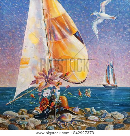 Artwork. Beach still life. Author: Nikolay Sivenkov. The plot of creative work decided on the fiction and with humor ... A man's hat and in the foreground a female heel, inspired the idea of henpecked....