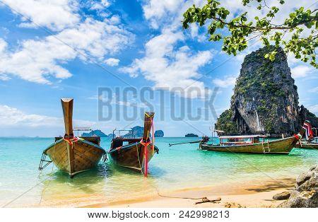 Amazing View Of Beautiful Beach With Longtale Boats. Location: Railay Beach, Krabi, Thailand, Andama