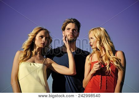 Couple In Love. Beauty And Summer Fashion. Love Triangle And Romance. Man With Beard With Twins, Rel
