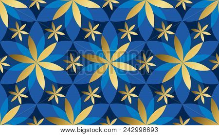 Luxury Gold And Blue Floral Geometric Seamless Pattern. Abstract Concept Floral Asia-style Repeatabl