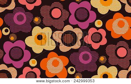 Creative Vintage Stylized Floral Seamless Pattern. Abstract Retro  Camellia Flowers Repeatable Motif