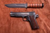 Classic Word War Two . 45 Caliber Semi Automatic Pistol. On a Leather Background  poster