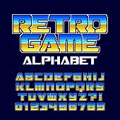 Retro computer game alphabet font. Pixel gradient letters and numbers. 80s arcade video game typography. poster