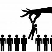 A person is selected from a from a group or line of persons for employment a promotion award date role etc. poster