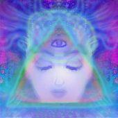 Woman with third eye, psychic supernatural senses , raster poster