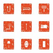 Fitter icons set. Grunge set of 9 fitter vector icons for web isolated on white background poster
