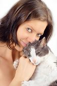 Young woman skin-tight with her old cat poster