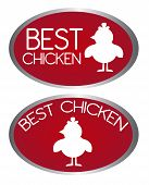 red best chicken tags isolated over white background. vector poster