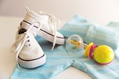 Baby stuff is on a white background. Things for little boy, rattle and shoes. Newborn baby necessities. poster